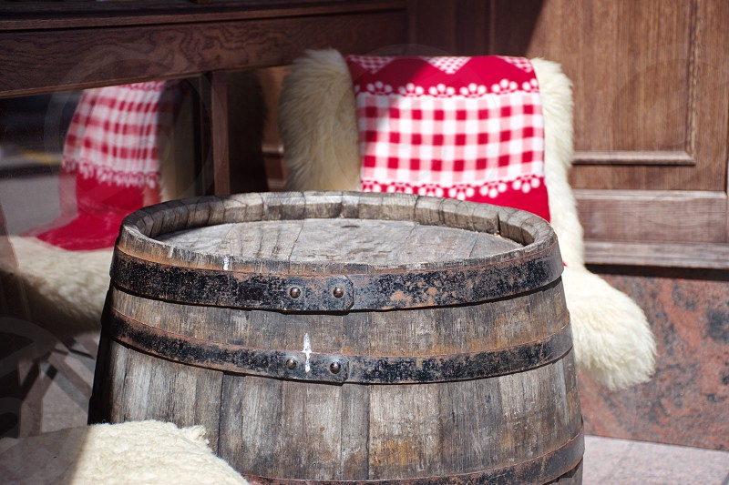 Rustic barrel used as a table photo