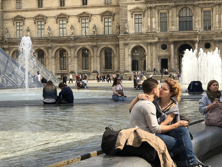 Couple finds romance in Paris France. photo