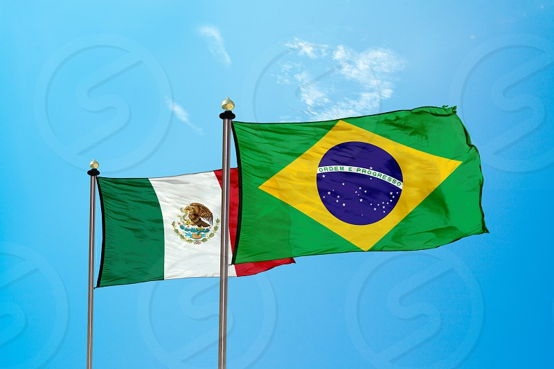 Brazil and Mexico flag on the mast  photo