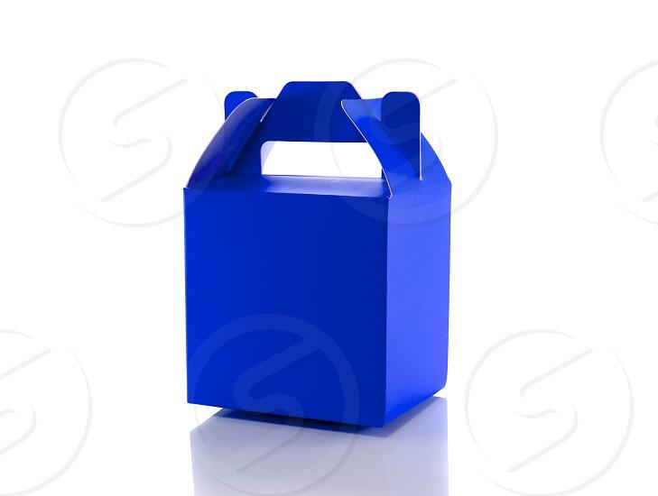 blue gift box isolated on white photo