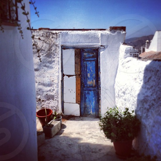 Spain door Andalusia blue white landscape  photo