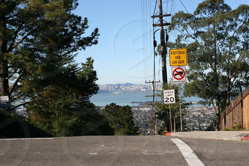 Steep Grade Use Low Gear Drive Slow Hills Street Signs 20MPH sign San Francisco photo