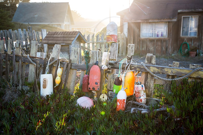 view of different colors buoy hanging on wooden fence photo