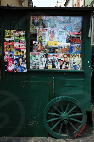 a shop and kiosk at the Rynek Glowny square in the old town of Cracow in Poland in east Europe. photo