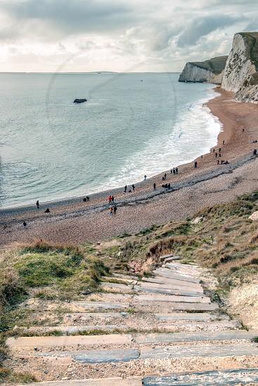 PORTLAND BILL DORSET/UK - FEBRUARY 16  : View of the Jurassic Coatline on the Isle of Portland in Dorset UK on February 16 2018. Unidentified people photo