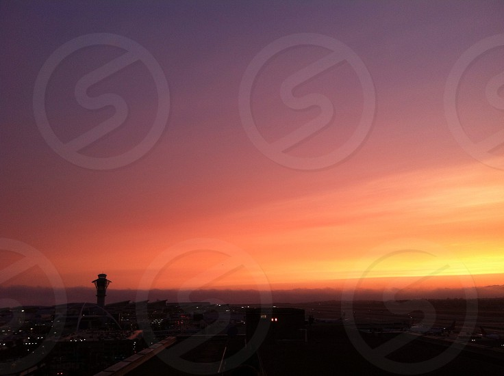 Sunset view of LAX with marine layer moving in. photo