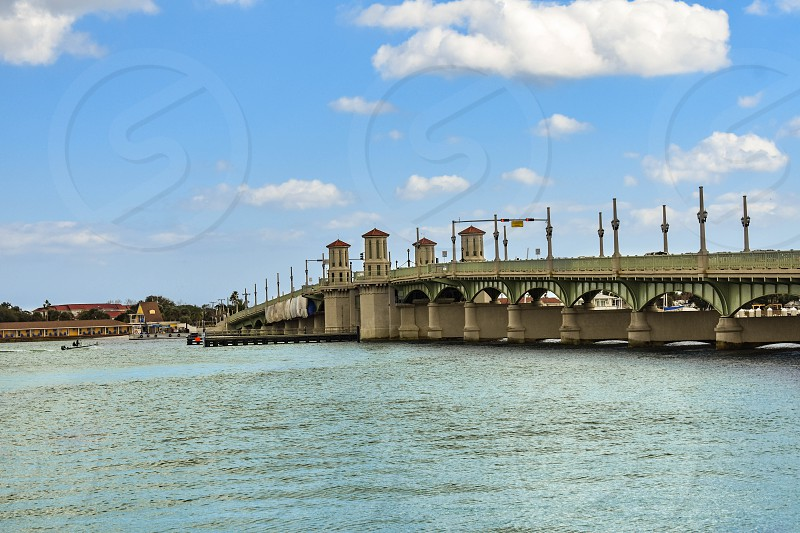 St. Augustine Florida. January 26  2019. Panoramic view of Bridge of Lionson lightblue sky background in Florida's Historic Coast. photo