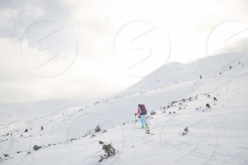 Skitouring with amazing view of mountains in beautiful winter photo