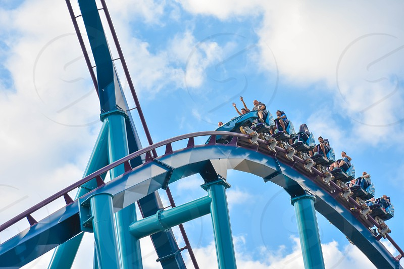 Orlando Florida . February 17  2019 Ride Mako a hyper coaster known for high speeds deep dives and thrills around every turn. at Seaworld (10) photo