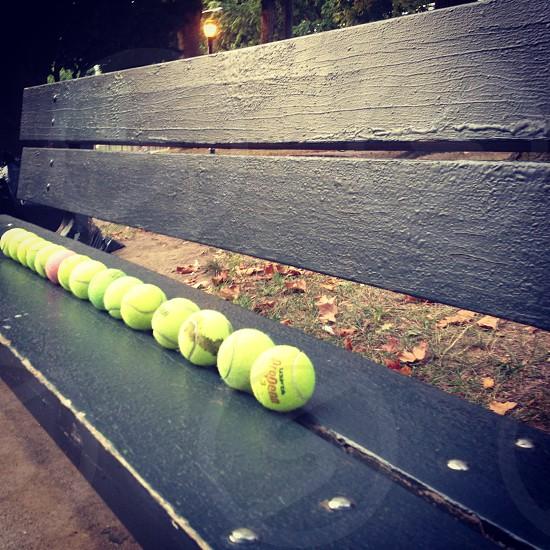 Park Bench Tennis Balls  photo