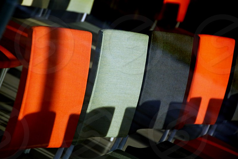 Chairs patterns color row lines photo