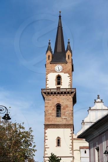 BISTRITA TRANSYLVANIA/ROMANIA - SEPTEMBER 17 : View of the Lutheran Church in Bistrita Transylvania Romania on September 17 2018 photo