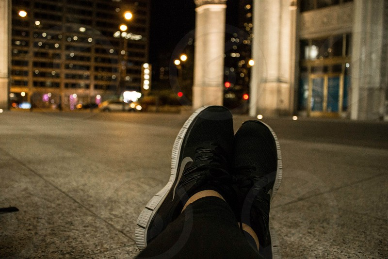 Chicago nike point of view black night time city lights Windy City  photo