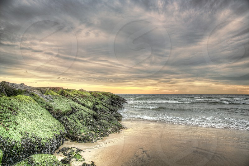 Atlantic Beach NY during sunset. sunset bech sand ocean HDR  photo