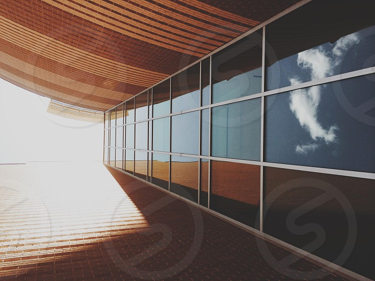 Architecture glass linear light shadows photo