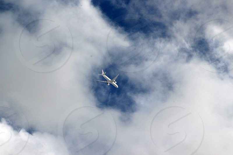 airplane in the clouds photo