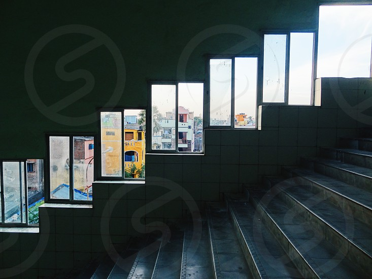 Windows are the eyes to the building. Beautiful frames in a Station in Chennai India. photo