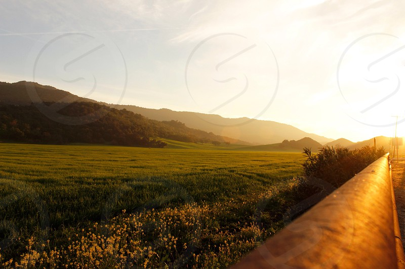 Landscape Ojai California field fence sunset beautiful nature outdoors outside farm photo