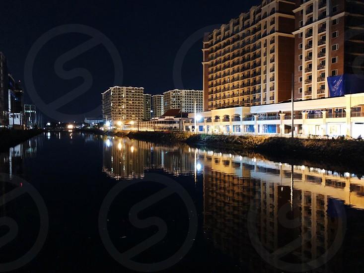 City skyline night reflection leading lines  photo