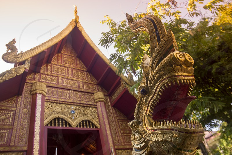 the wat phra kaew in the city Chiang Rai in North Thailand. photo