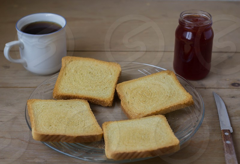 Bread and jam and coffee photo