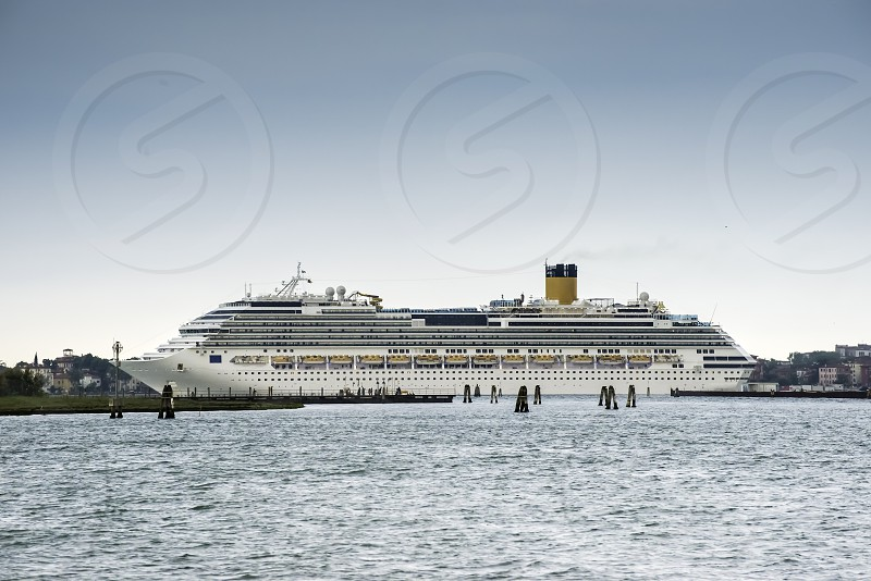 Large passenger cruise ship in Venice photo