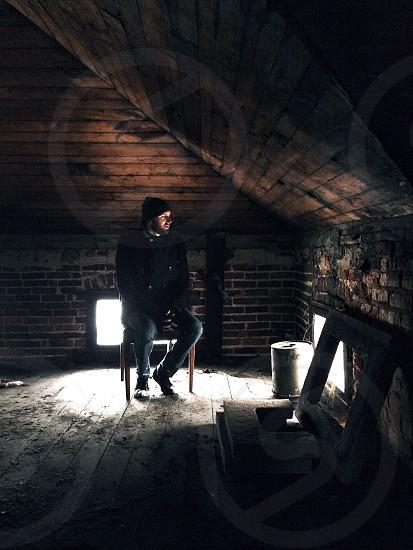 men's black jacket  photo