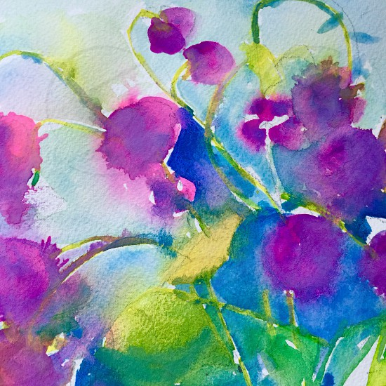 Ultraviolet watercolors tonal artistic expression painting thistles bright colorful photo