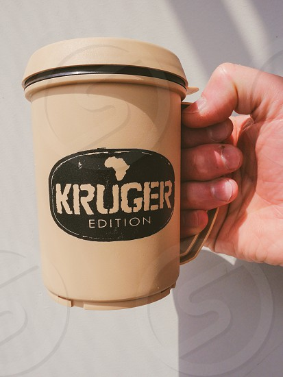 Coffee cup cup mug South Africa's Kruger park hand holding Africa  photo