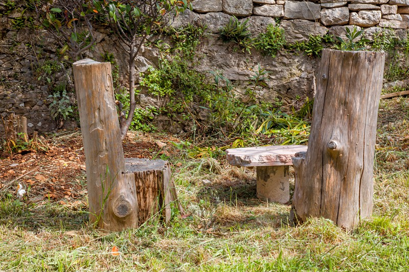 Chairs and a table carved from tree trunks creates a unique sitting area to enjoy nature photo