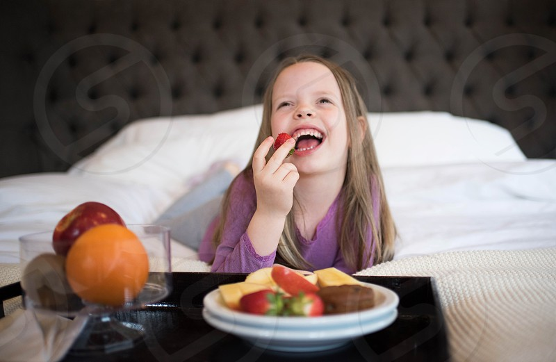 kid girl family hotel eating healthy food travel destination vacation photo