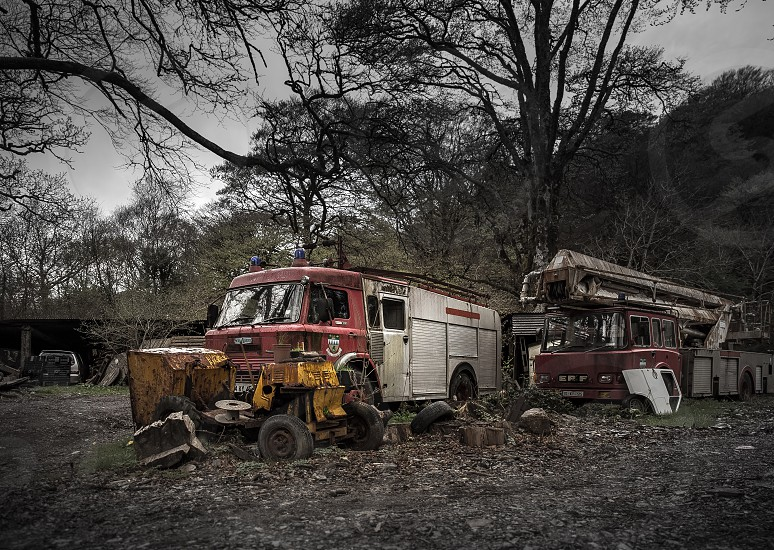 Truck abandoned fire engine  photo