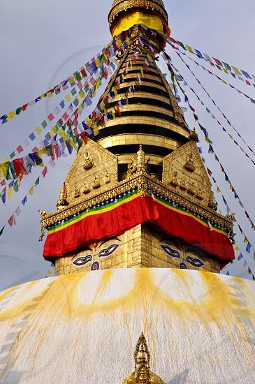 Buddha eyes stupa in Kathmandu Nepal  photo