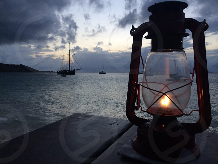 lighted gas lantern in the dock photo