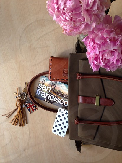brown leather tote bag photo