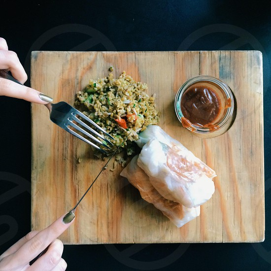 Food. Rice paper rolls. Healthy photo