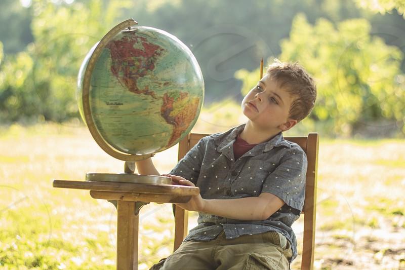 Globe school boy desk outdoor nature circle world geography photo