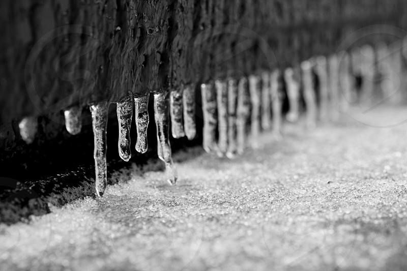 Sheet of ice and icicles on truck tailgate photo