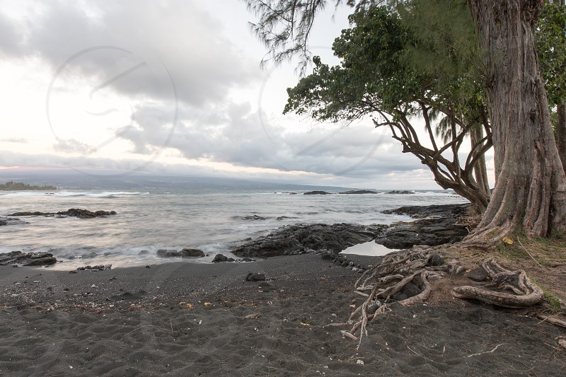 The black sand beach of Richardson Beach in Hilo.  Big Island Hawaii photo