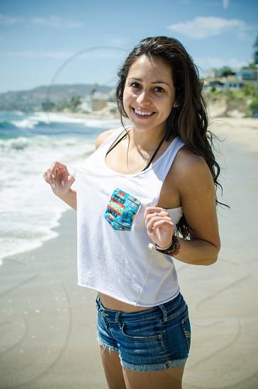 Beach ocean California beautiful girl photo