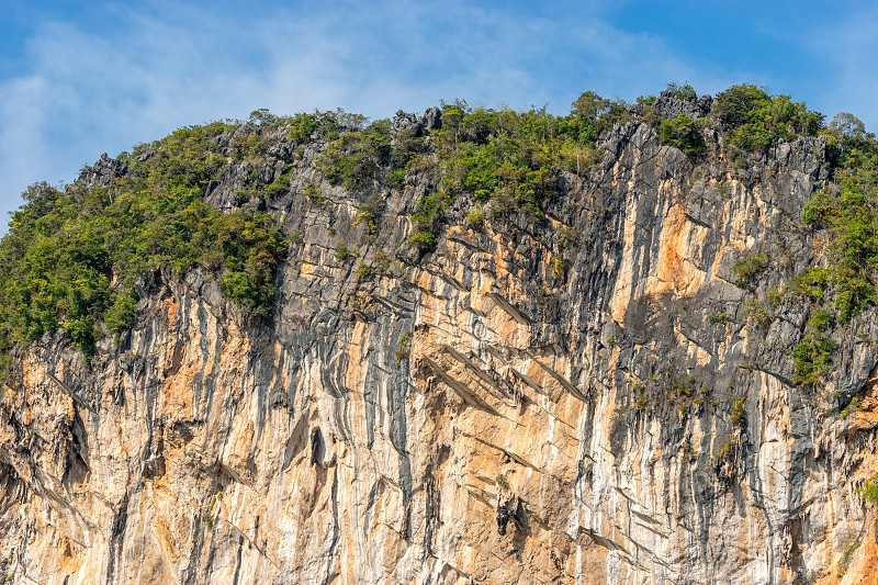Large sheer textured wall of limestone rock background photo