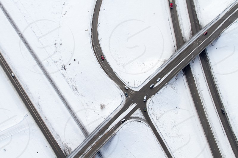 An aerial view of a highway in winter photo