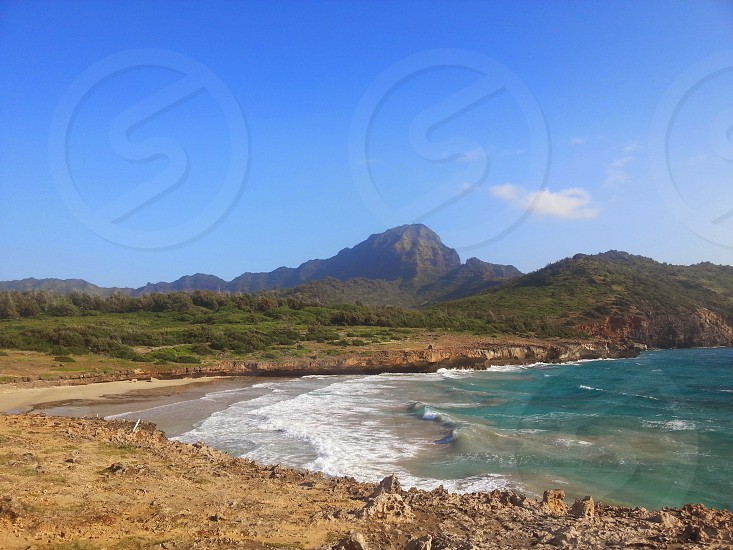 Beach Coast Mountain Blue Sky photo