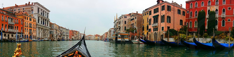 view of buildings from canal boat photo