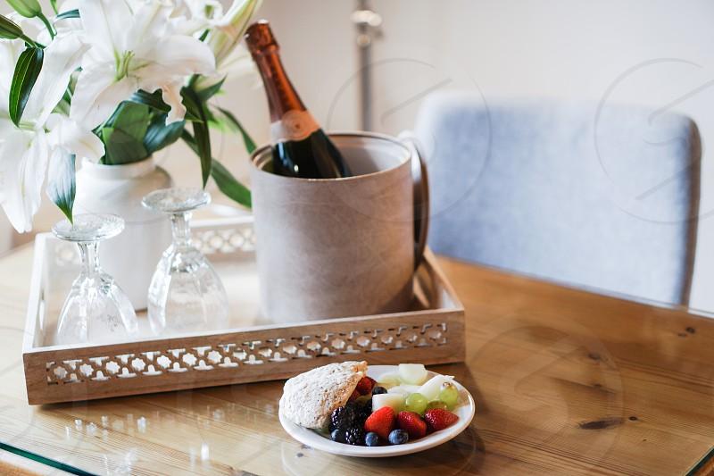 champagne hotel celebration fruit photo
