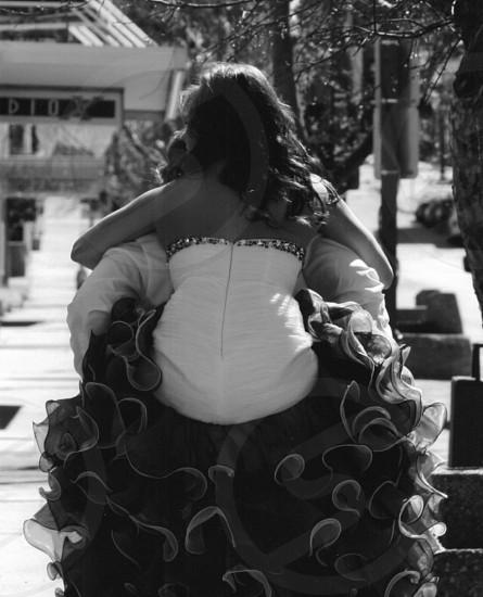 Girl prom dress piggyback boy date prom date beautiful dress prom dresses  photo