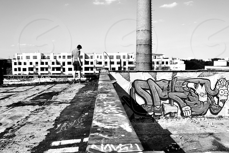 Exploring Abandoned Building Roof Top Graffiti Chimney Former Brewery in Berlin photo