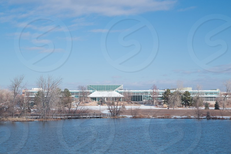 Lakewood Administrative Center and City Hall from Belmar Park In Lakewood Jefferson County Colorado. photo