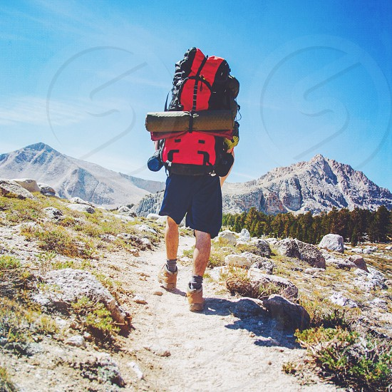 man with red and black backpack walking at mountain photo