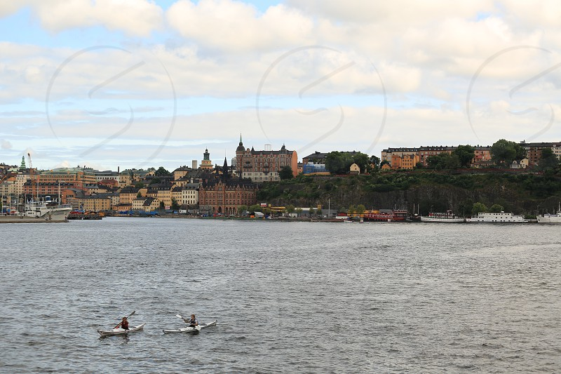 Kayakers Stockholm Sweden Faces and vessels not recognizable photo